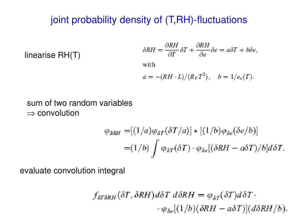 joint probability density of (T,RH)-fluctuations