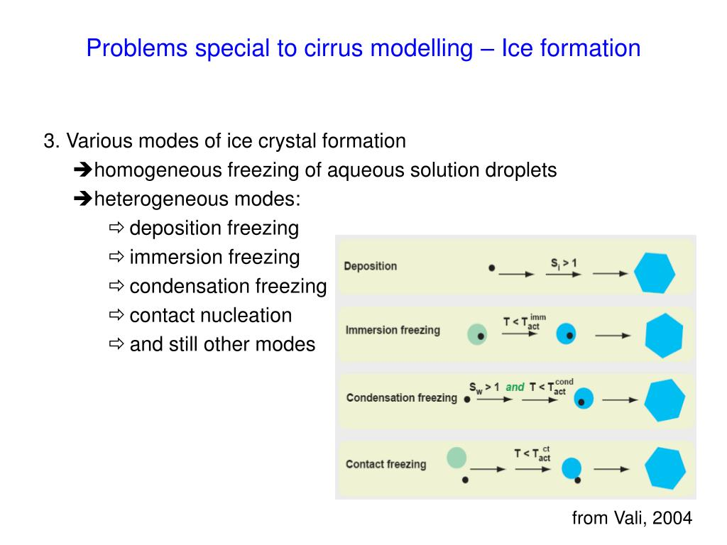 Problems special to cirrus modelling – Ice formation