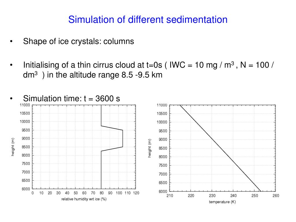 Simulation of different sedimentation