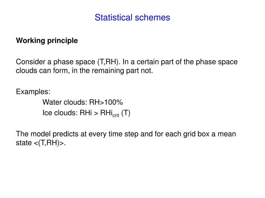 Statistical schemes