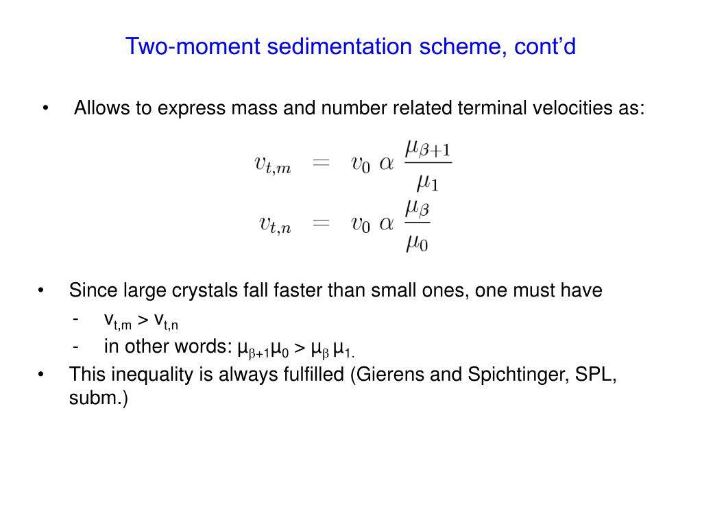 Two-moment sedimentation scheme, cont'd