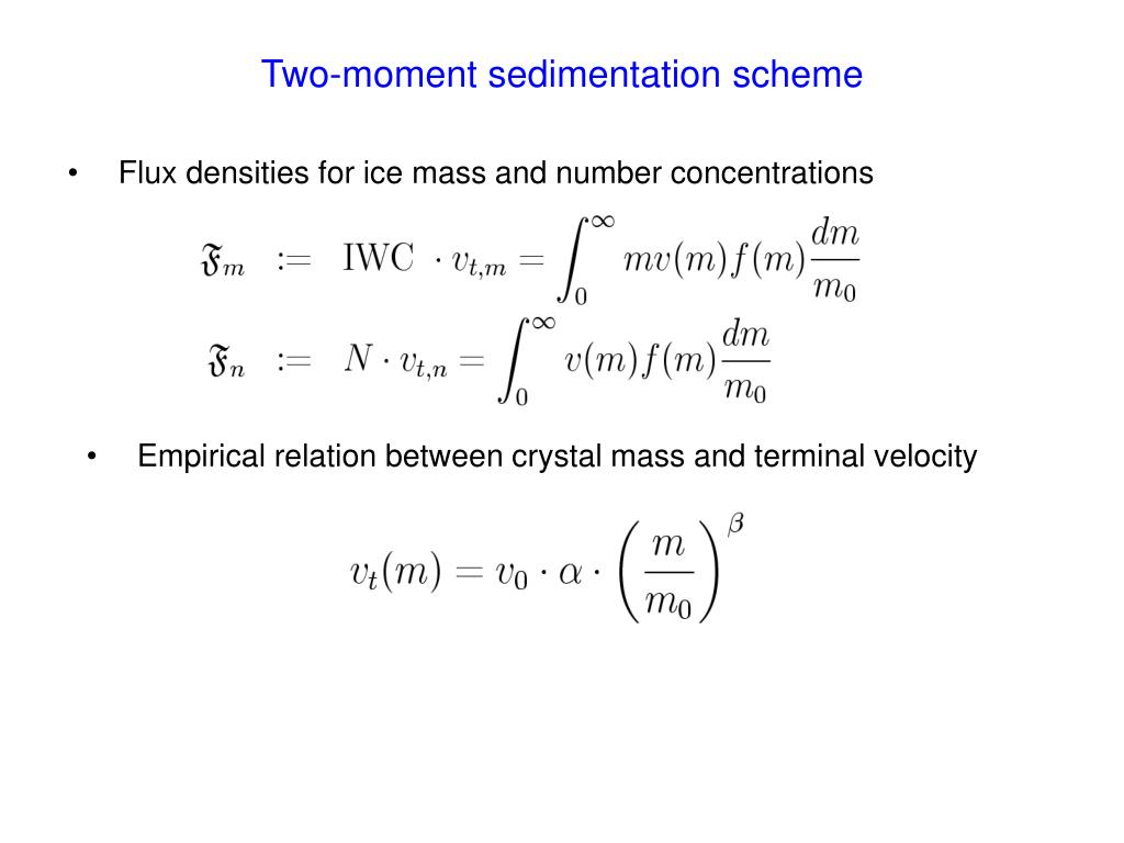 Two-moment sedimentation scheme