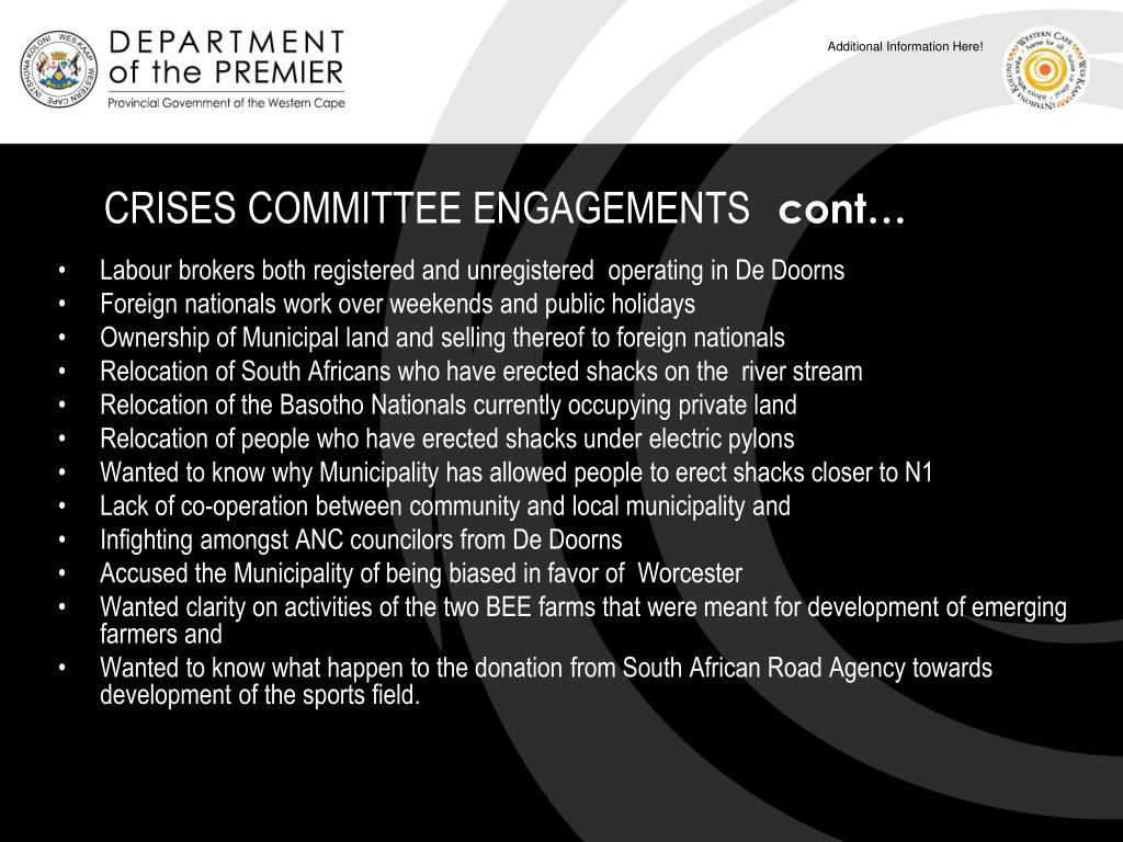 CRISES COMMITTEE ENGAGEMENTS