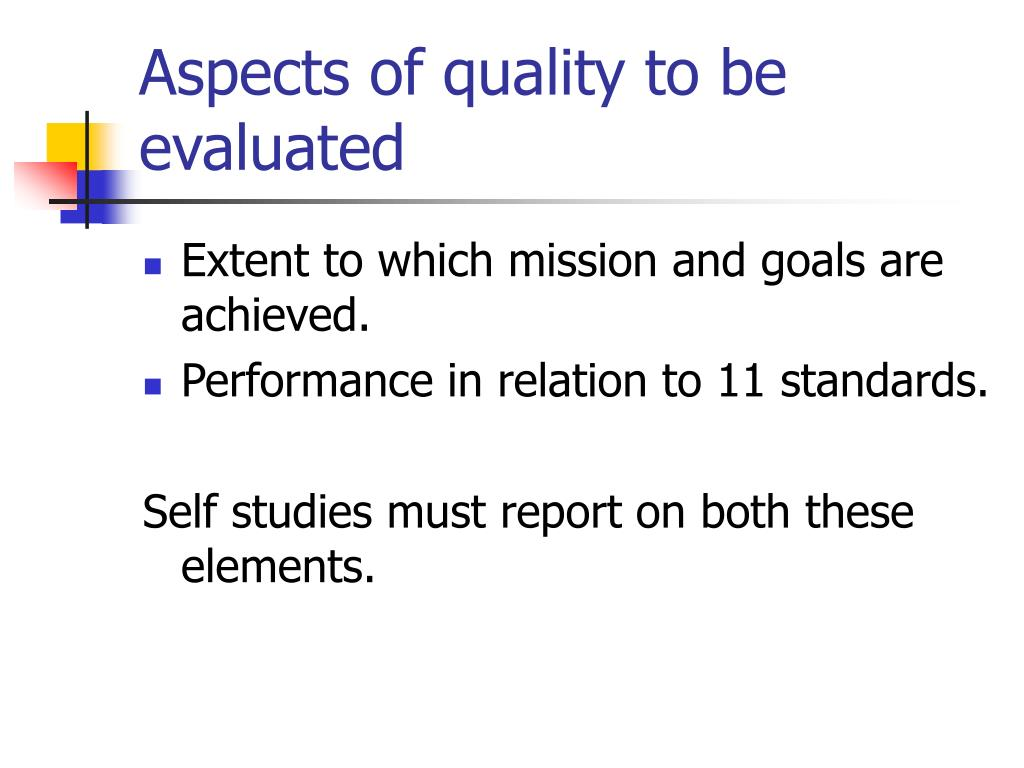 Aspects of quality to be evaluated