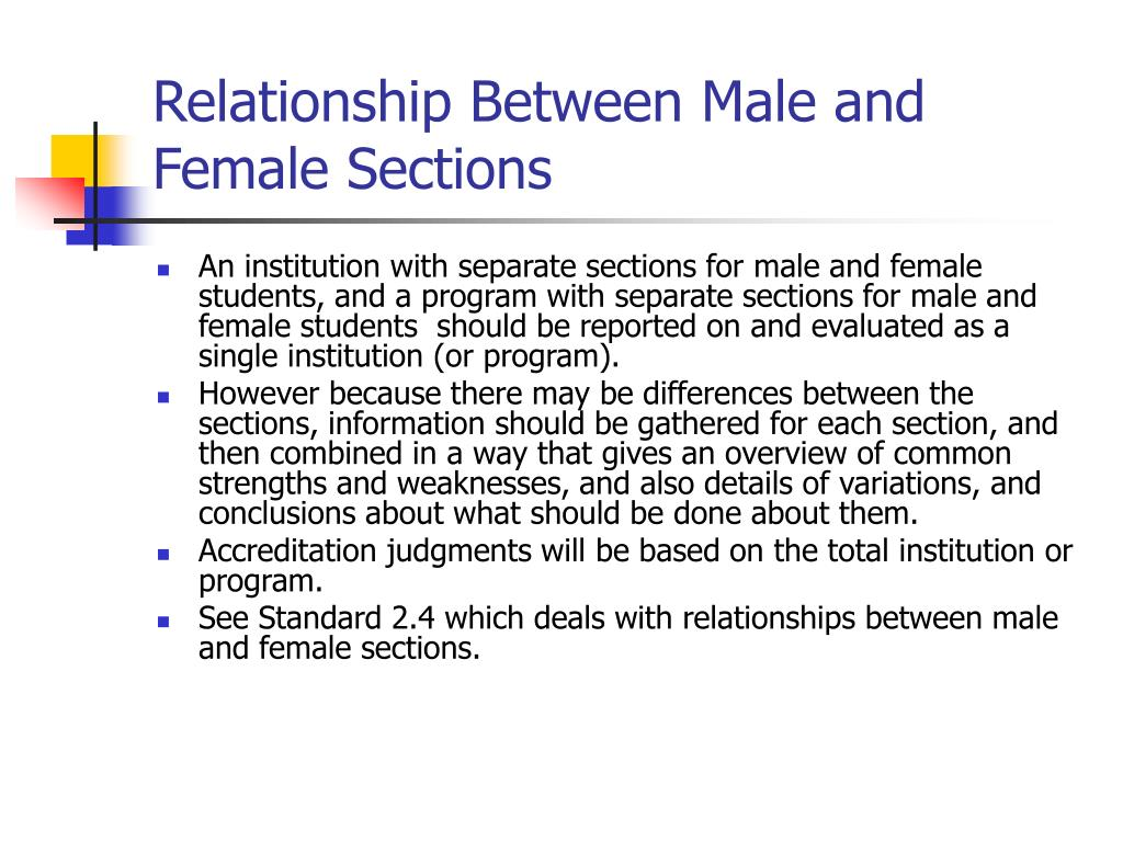 Relationship Between Male and Female Sections