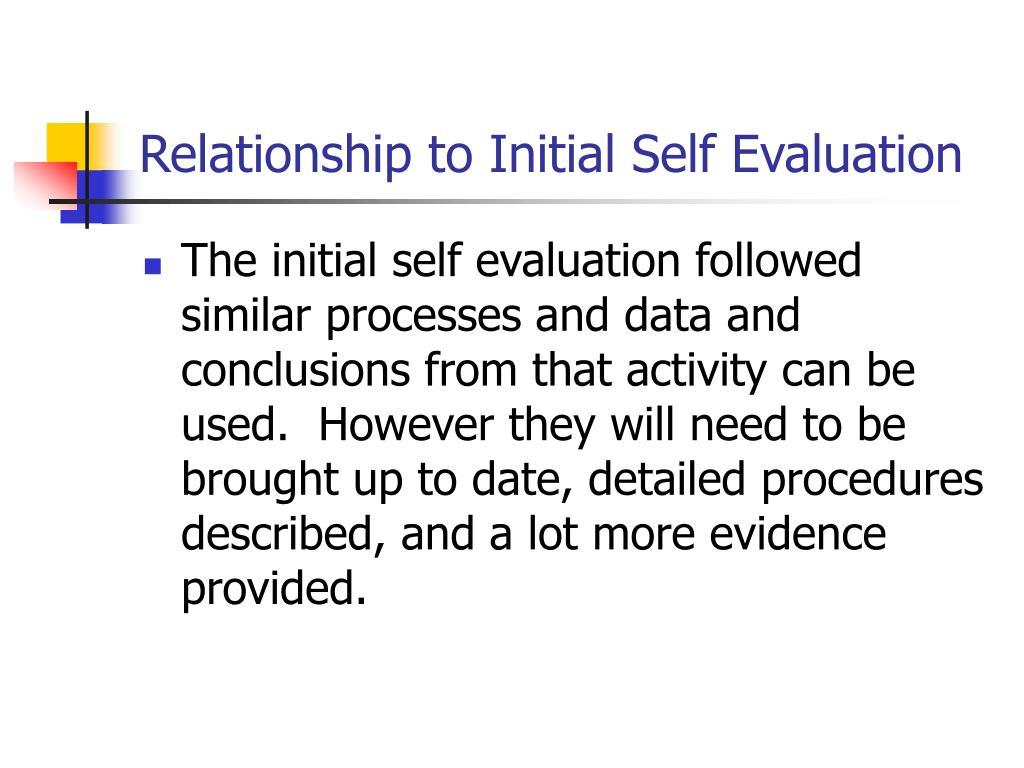 Relationship to Initial Self Evaluation