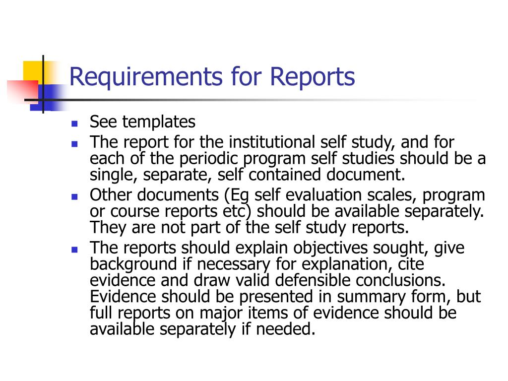Requirements for Reports