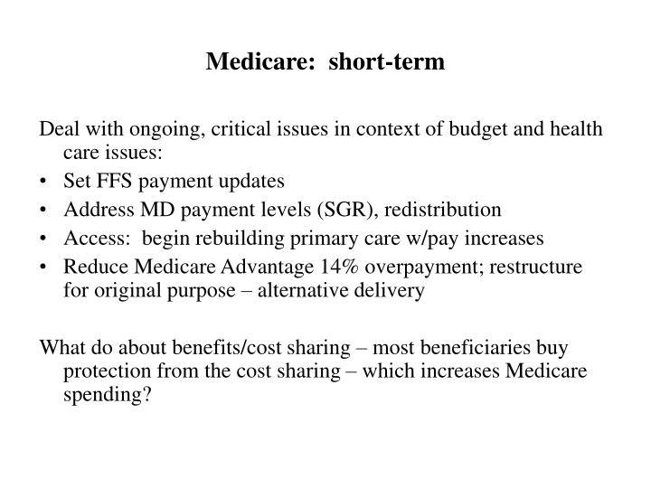 Medicare:  short-term