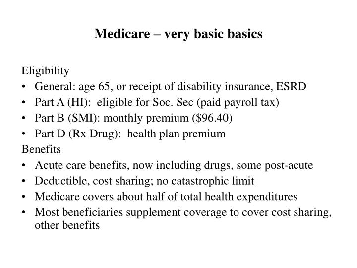 Medicare – very basic basics
