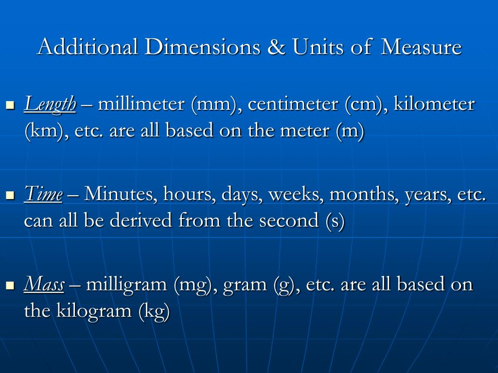 Additional Dimensions & Units of Measure