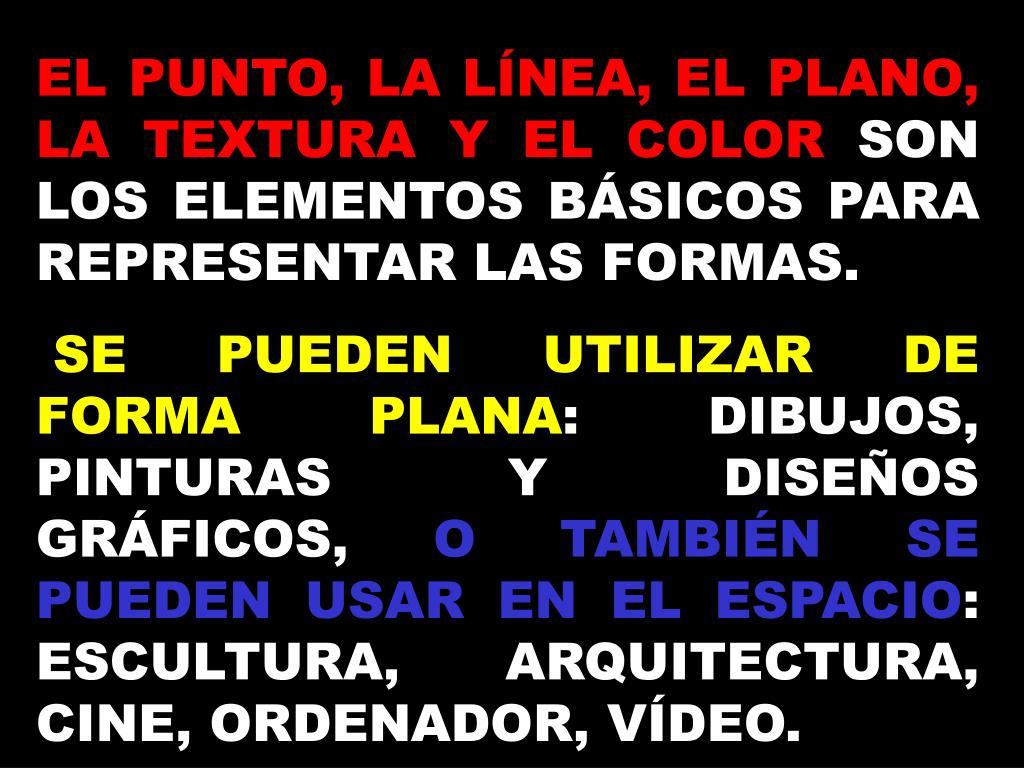 EL PUNTO, LA LÍNEA, EL PLANO, LA TEXTURA Y EL COLOR