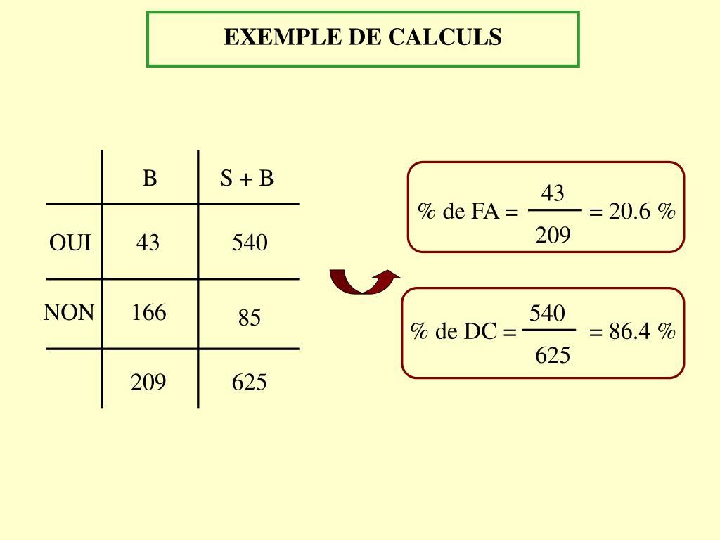 EXEMPLE DE CALCULS