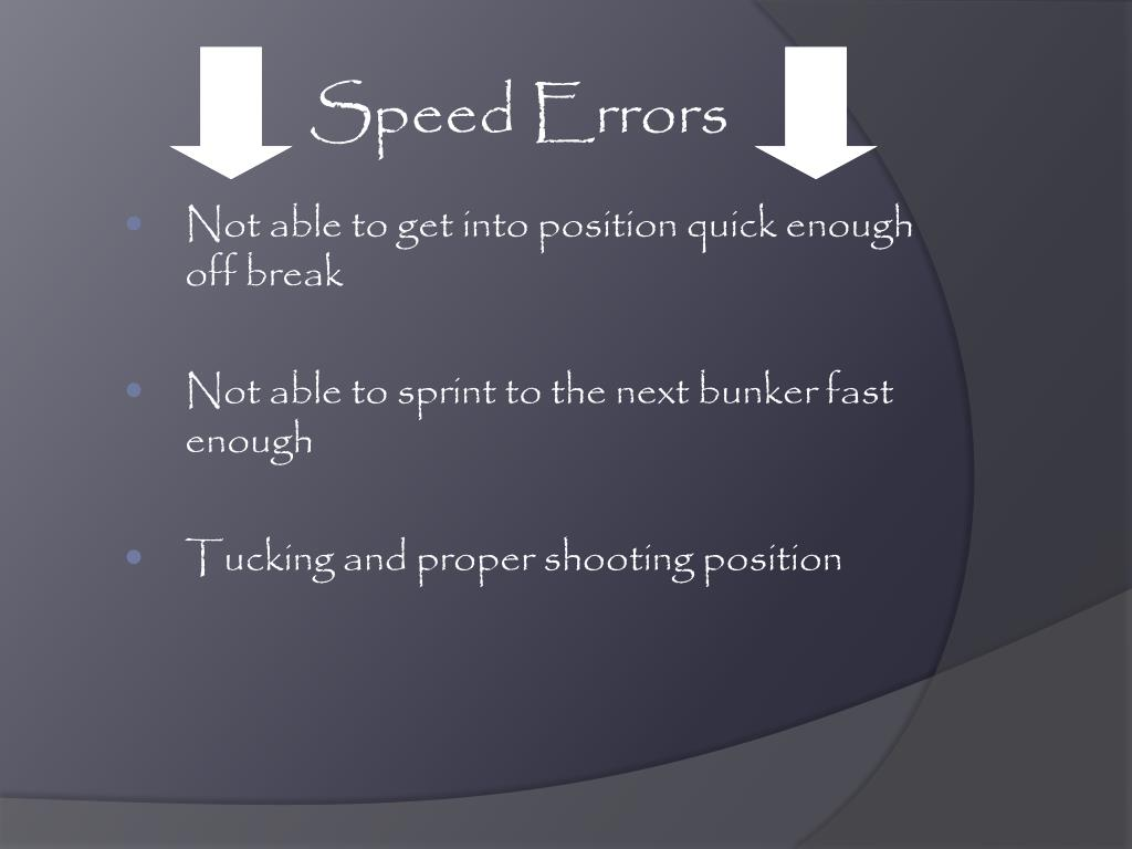 Speed Errors