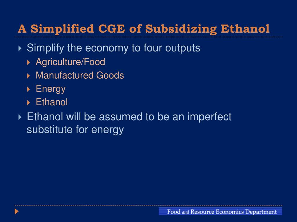 A Simplified CGE of Subsidizing Ethanol