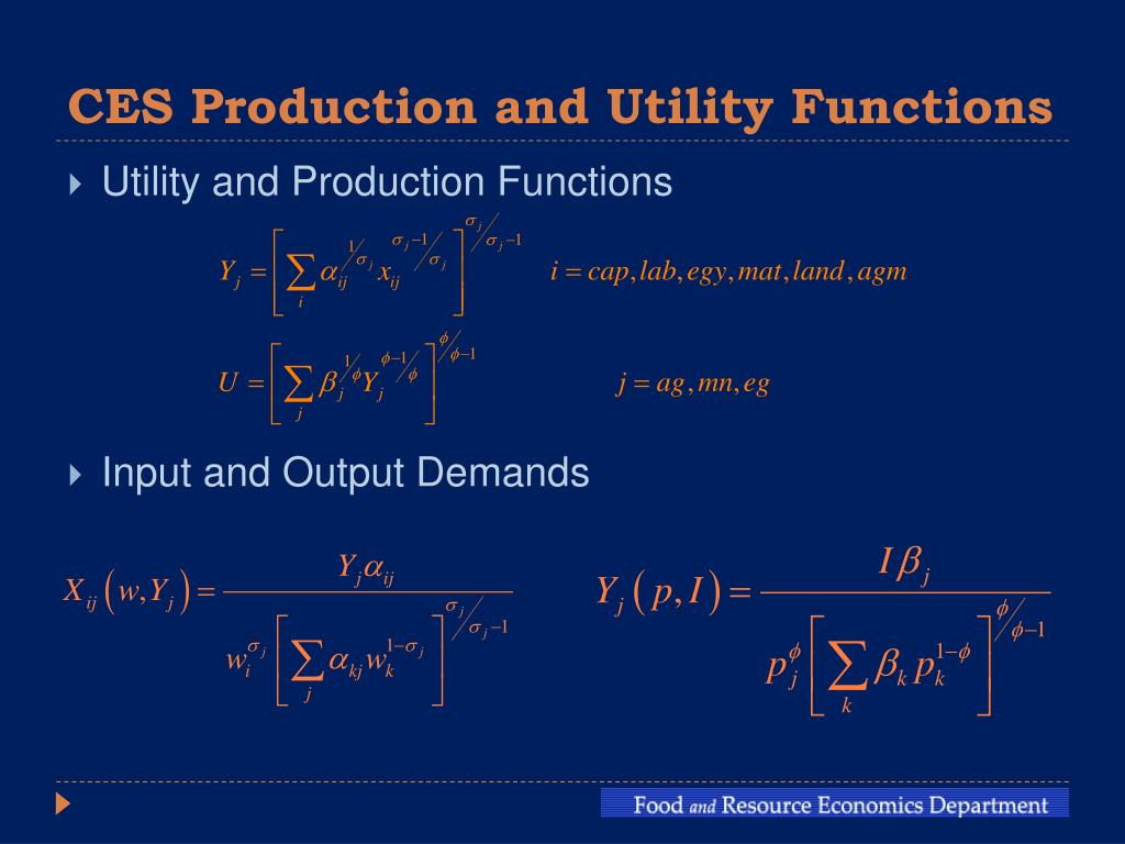 CES Production and Utility Functions