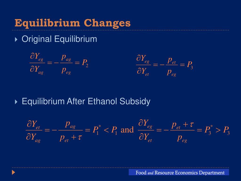 Equilibrium Changes