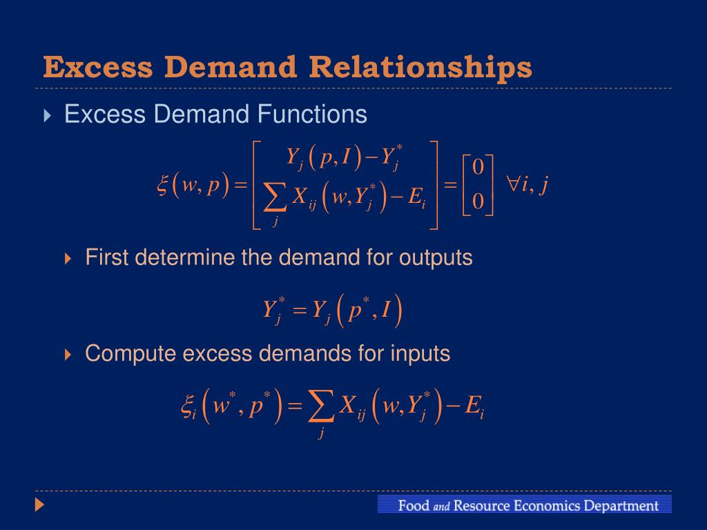 Excess Demand Relationships