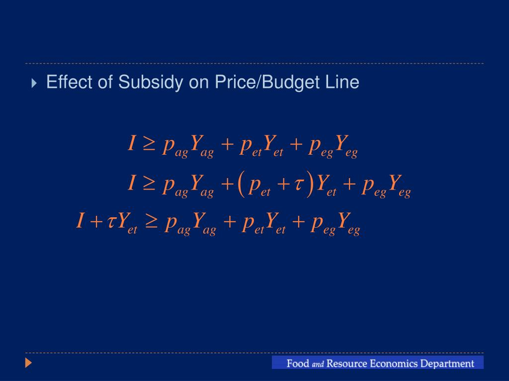 Effect of Subsidy on Price/Budget Line
