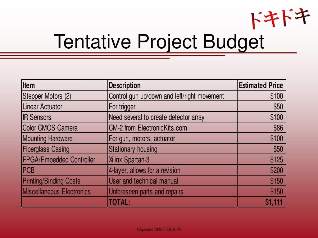 Tentative Project Budget