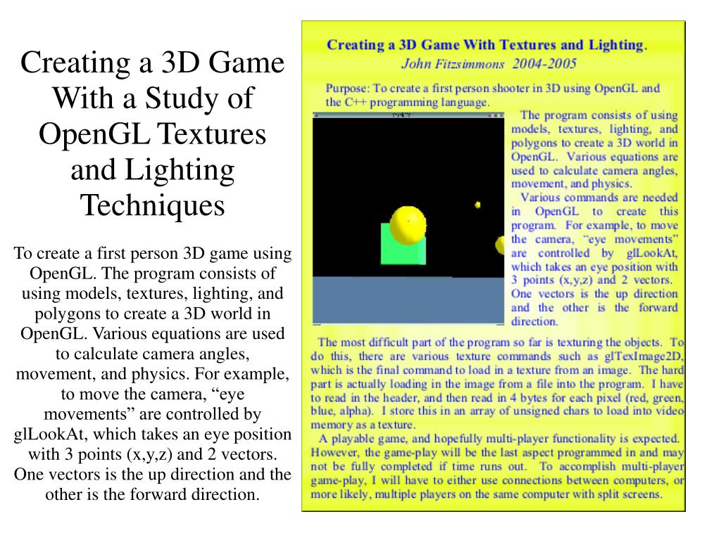 Creating a 3D Game With a Study of OpenGL Textures and Lighting Techniques