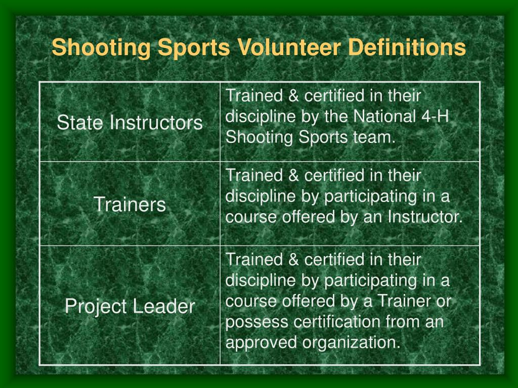 Shooting Sports Volunteer Definitions