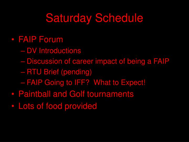 Saturday schedule