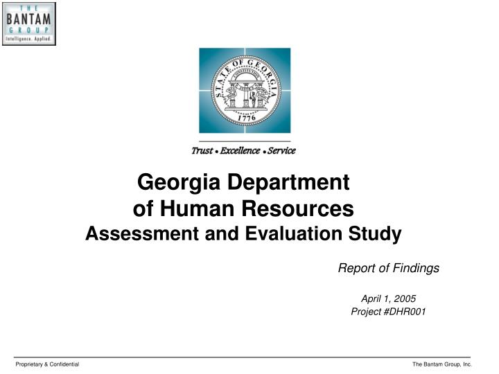Report of findings april 1 2005 project dhr001