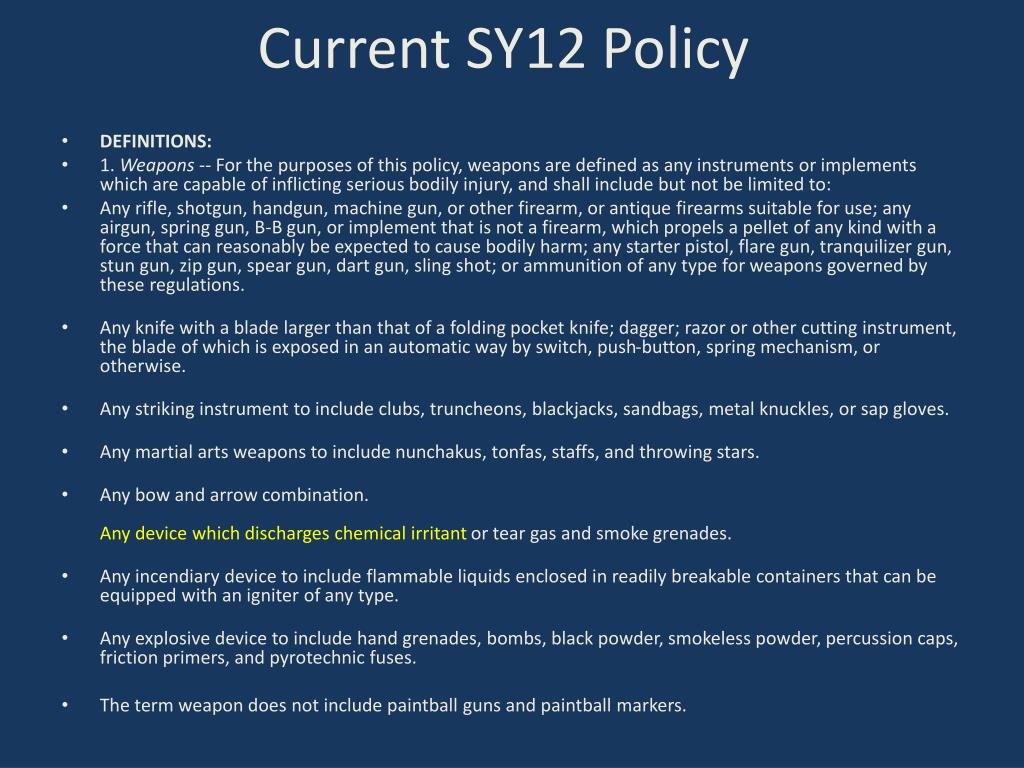 Current SY12 Policy