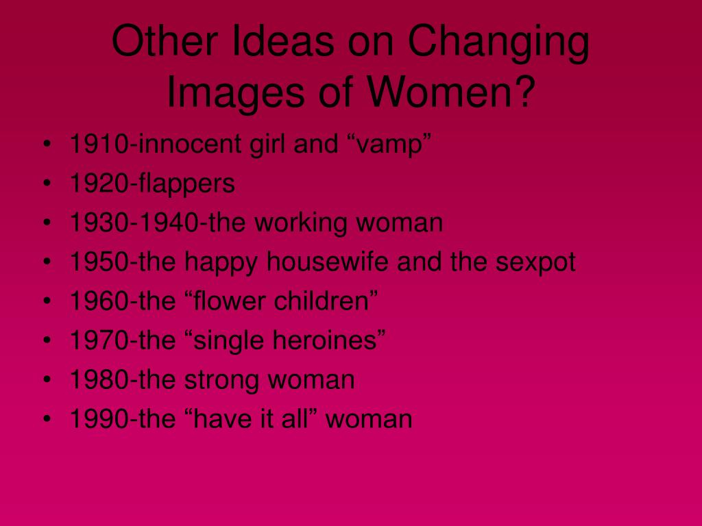 Other Ideas on Changing Images of Women?