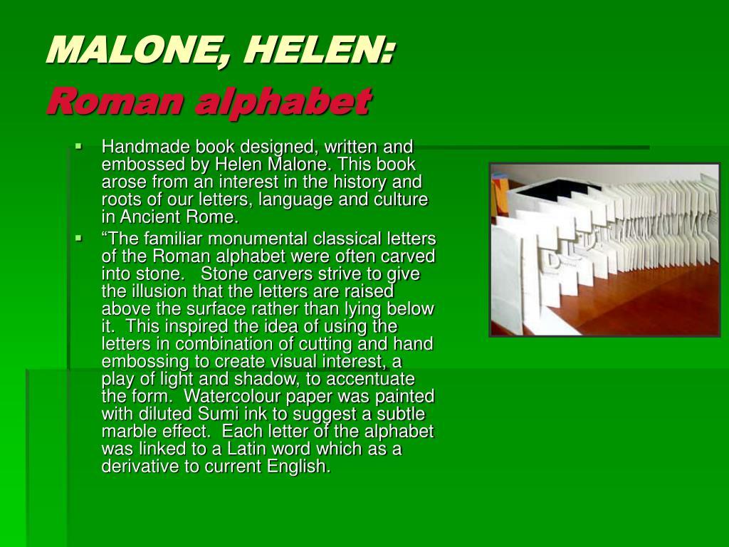 MALONE, HELEN: