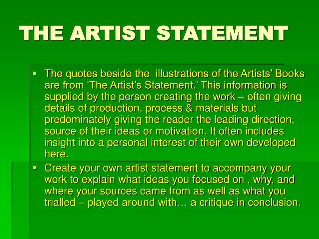 THE ARTIST STATEMENT