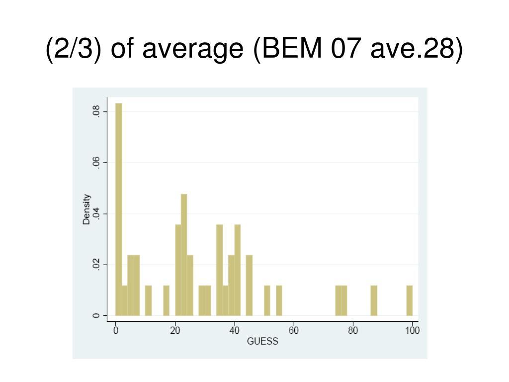 (2/3) of average (BEM 07 ave.28)