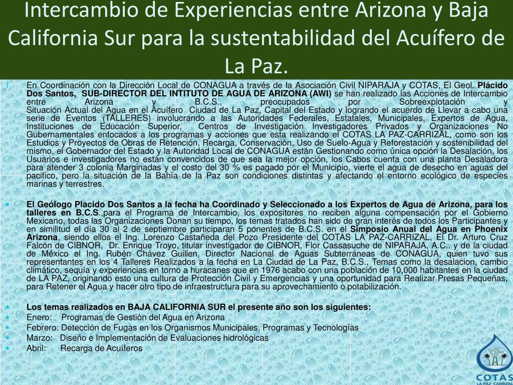 Intercambio de Experiencias entre Arizona y Baja California Sur para la sustentabilidad del Acuífero de La Paz.