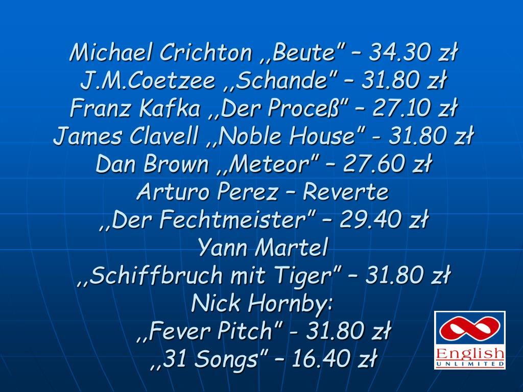 """Michael Crichton ,,Beute"""" – 34.30 zł"""