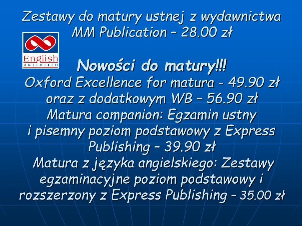 Zestawy do matury ustnej z wydawnictwa MM Publication – 28.00 zł