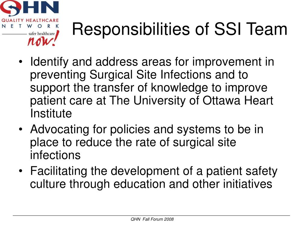 Responsibilities of SSI Team