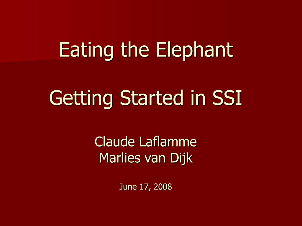 eating the elephant getting started in ssi claude laflamme marlies van dijk june 17 2008