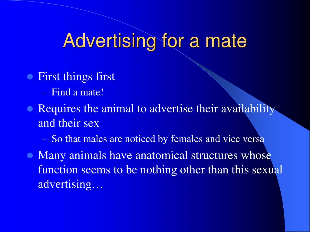 Advertising for a mate