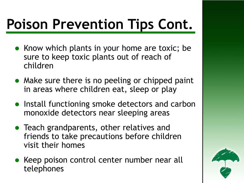 Poison Prevention Tips Cont'd