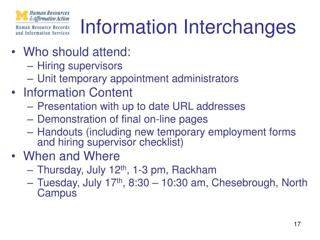 Information Interchanges