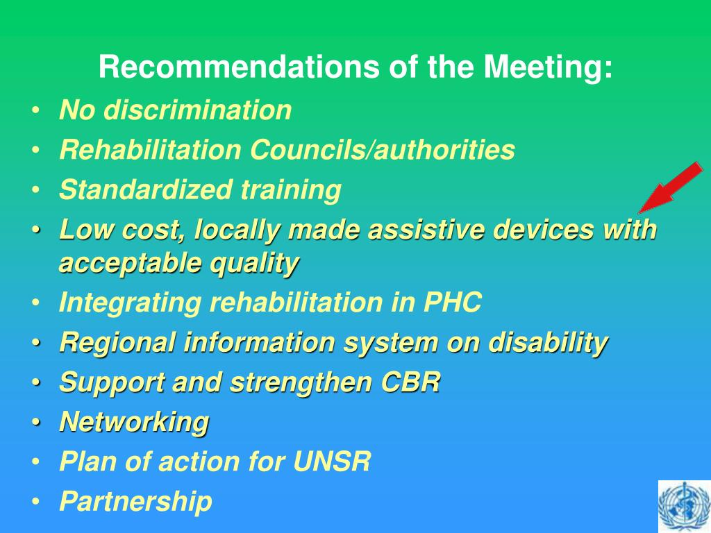 Recommendations of the Meeting: