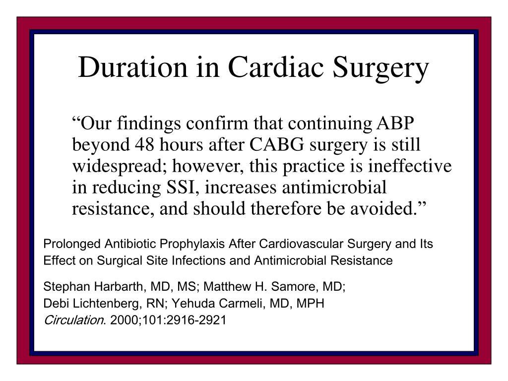 Duration in Cardiac Surgery