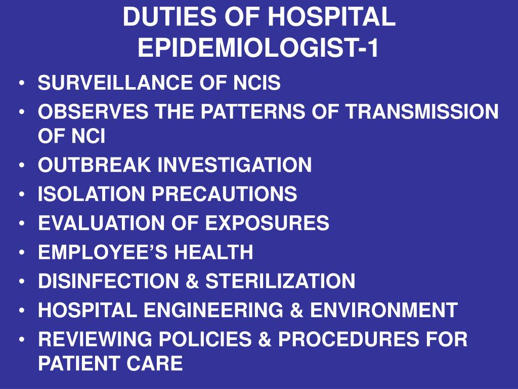 DUTIES OF HOSPITAL EPIDEMIOLOGIST-1