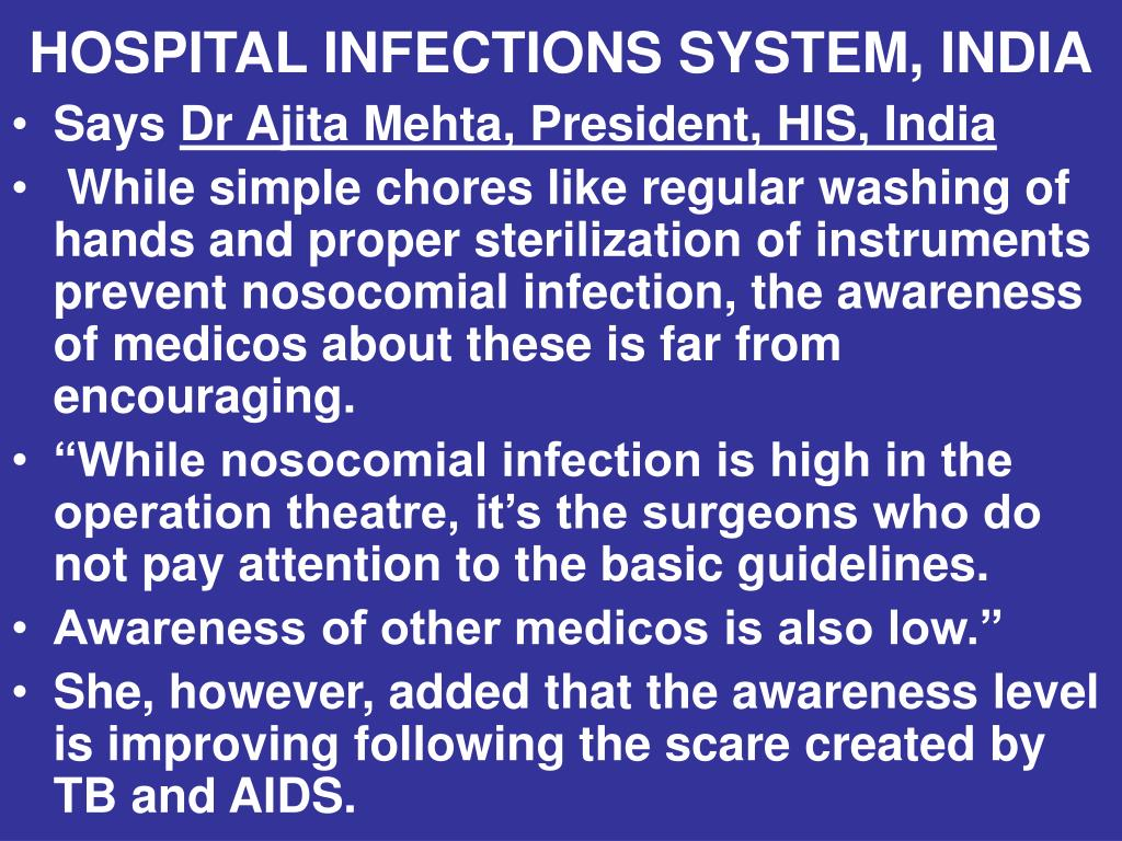 HOSPITAL INFECTIONS SYSTEM, INDIA