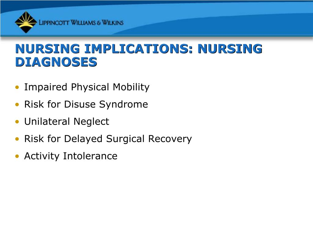 NURSING IMPLICATIONS: NURSING DIAGNOSES