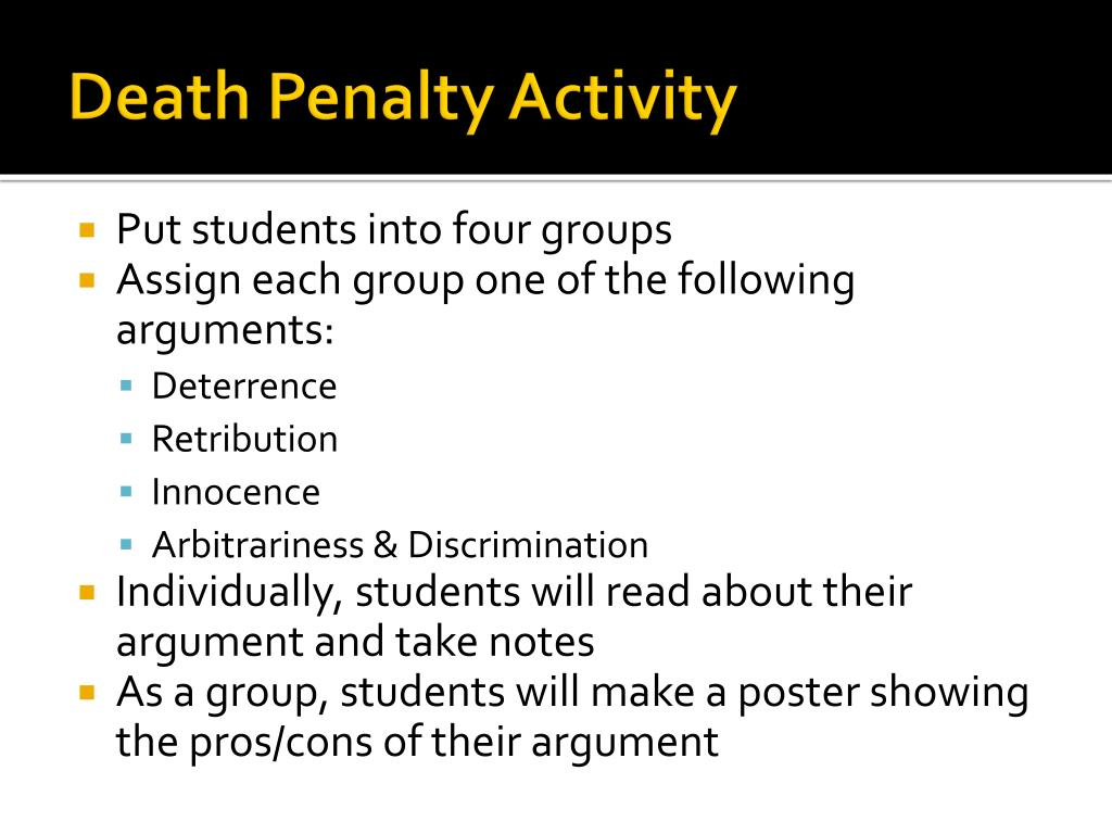 essays for capital punishment pro The death penalty by definition is: the punishment of execution, administered to someone legally convicted of a capital crime writing an argumentative essay about the death penalty can be simple if you have all of the right information.