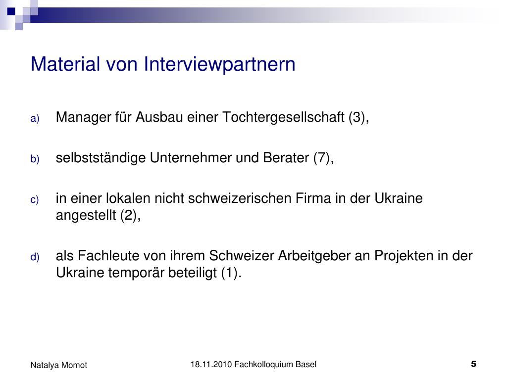 Material von Interviewpartnern