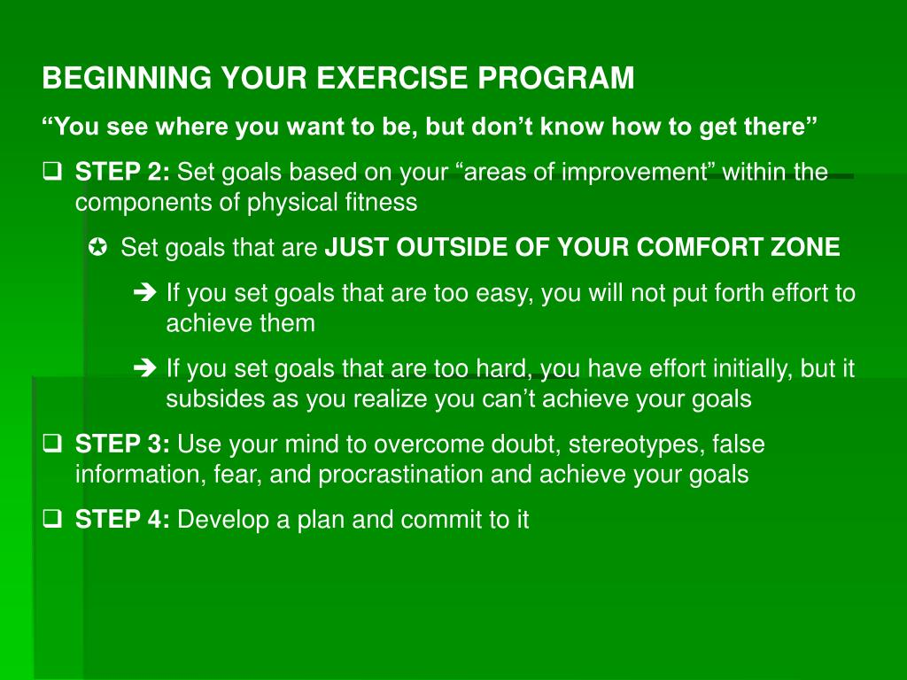 BEGINNING YOUR EXERCISE PROGRAM