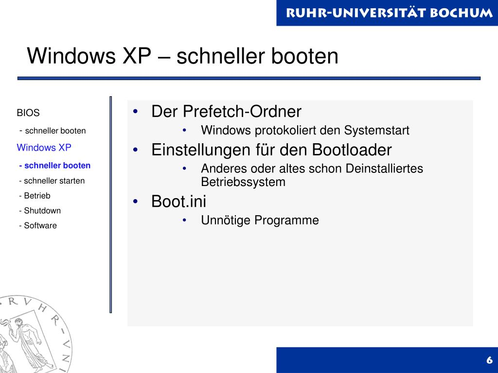 Windows XP – schneller booten