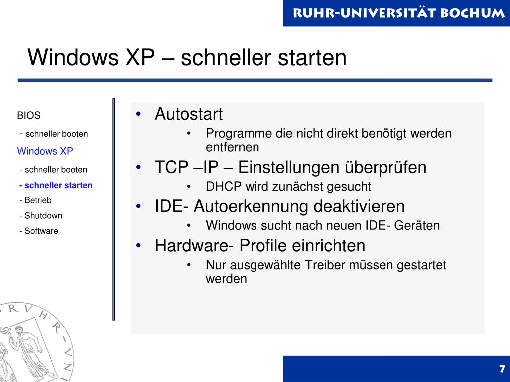Windows XP – schneller starten